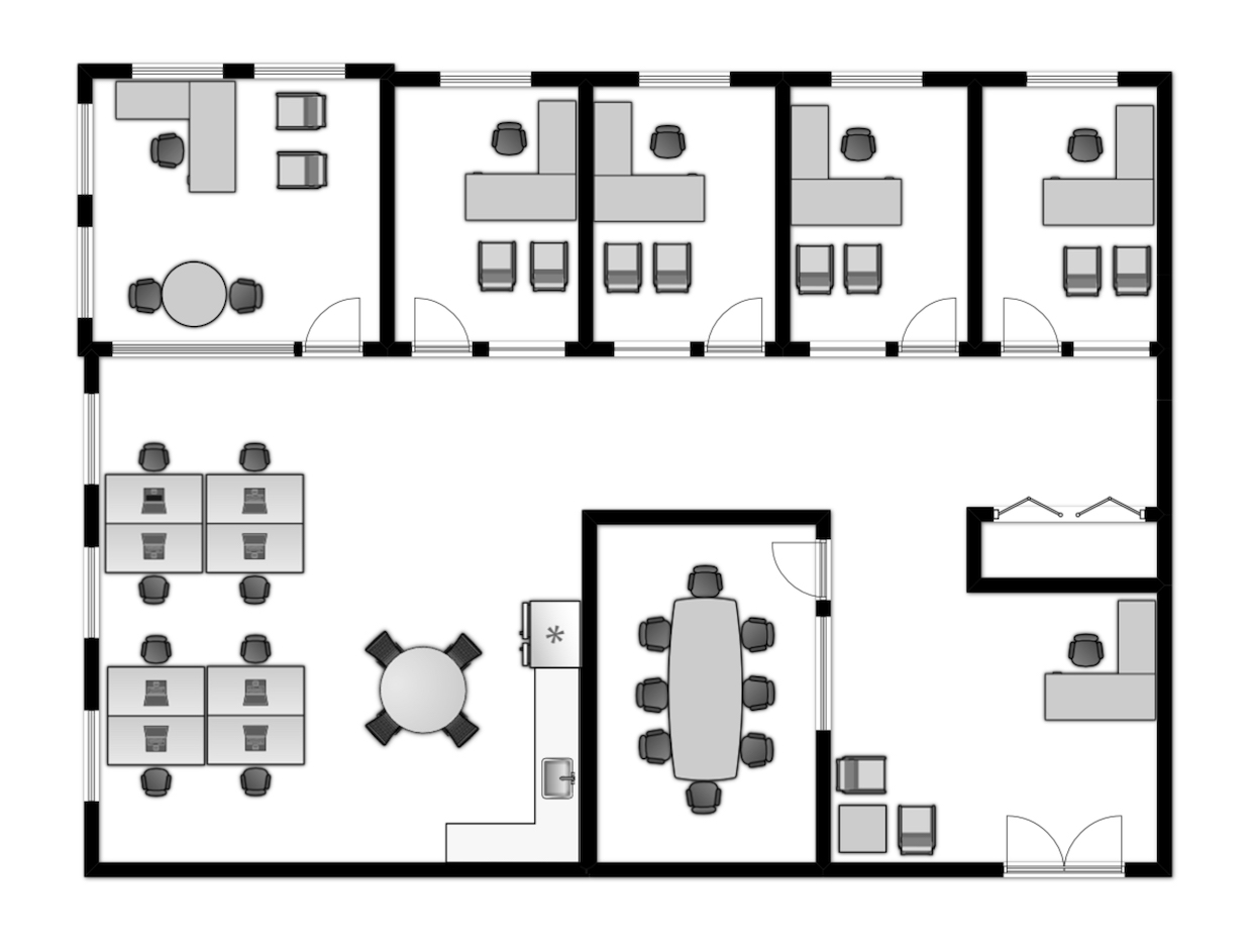 High density office layout